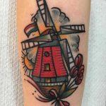 Windmill tattoo by Jeroen Van Dijk