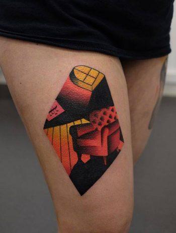 Armchair tattoo by Aleksy Marcinów