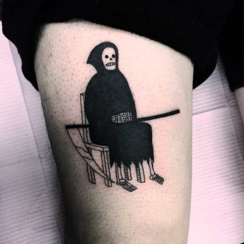 Awaiting grim reaper tattoo by Jen Wong
