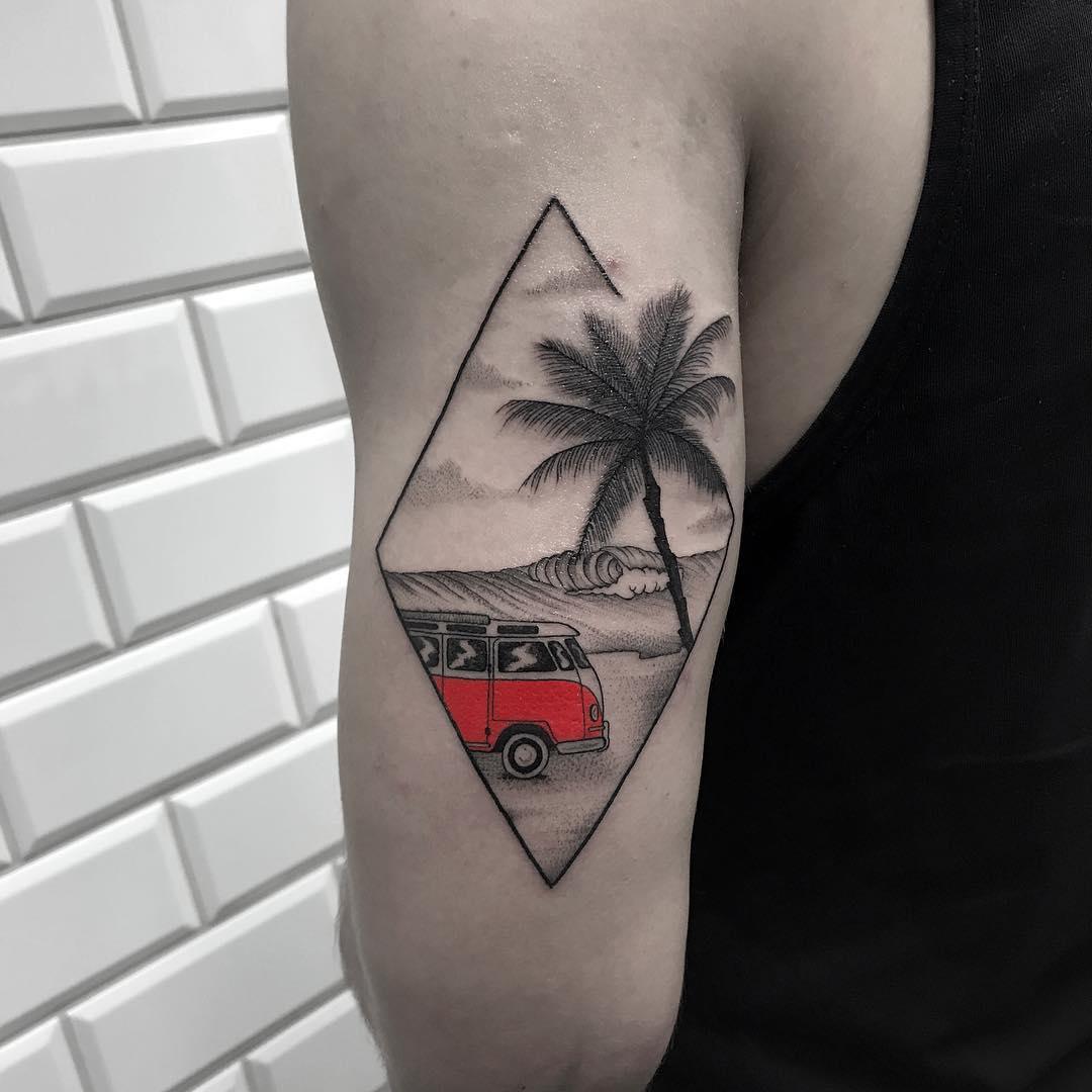 Beach landscape and Volkswagen Bus tattoo