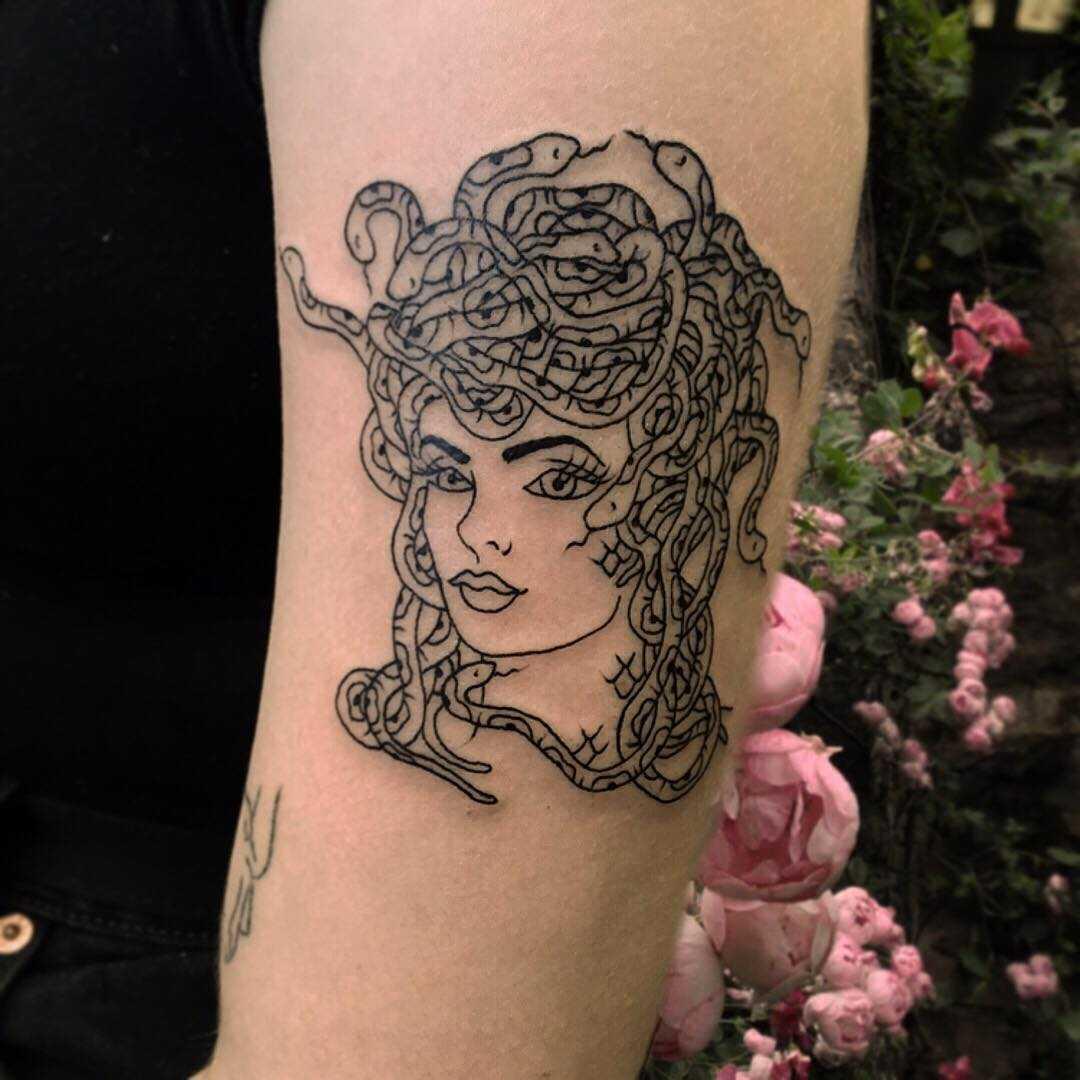Black Medusa Tattoo: Black And Grey Medusa Tattoo