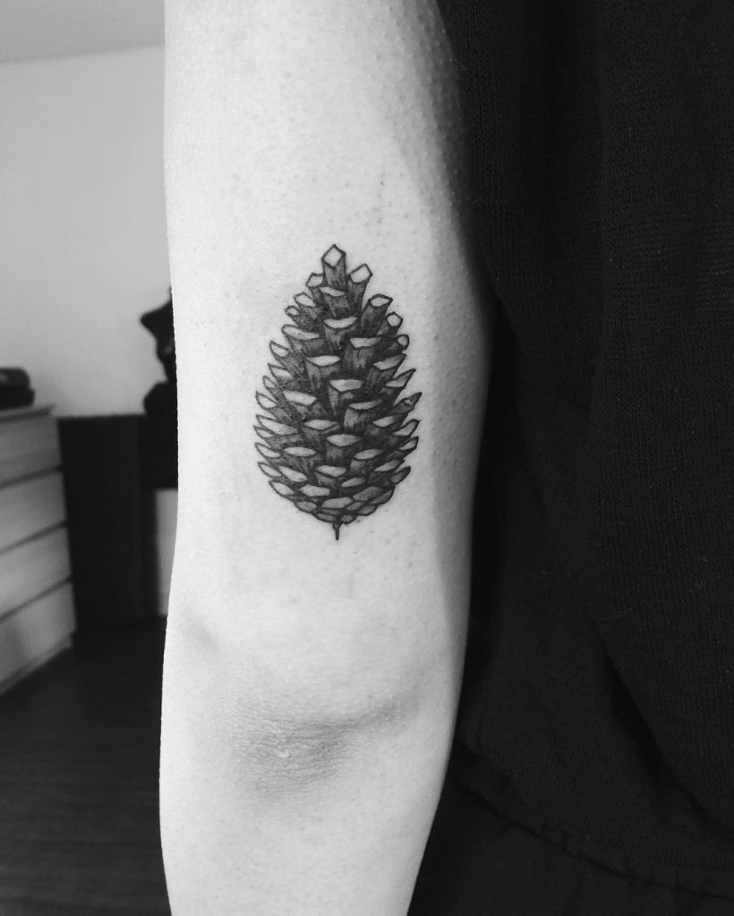 Black and grey pine cone tattoo