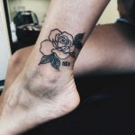 Black and white rose on the calf