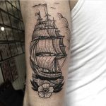 Black ship tattoo by Susanne König
