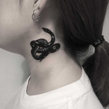 Black snake tattoo on the neck