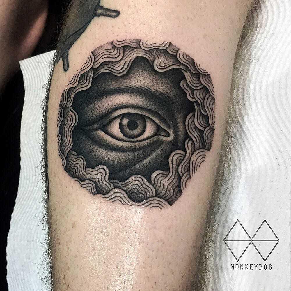 Blackwork eye tattoo by Monkey Bob
