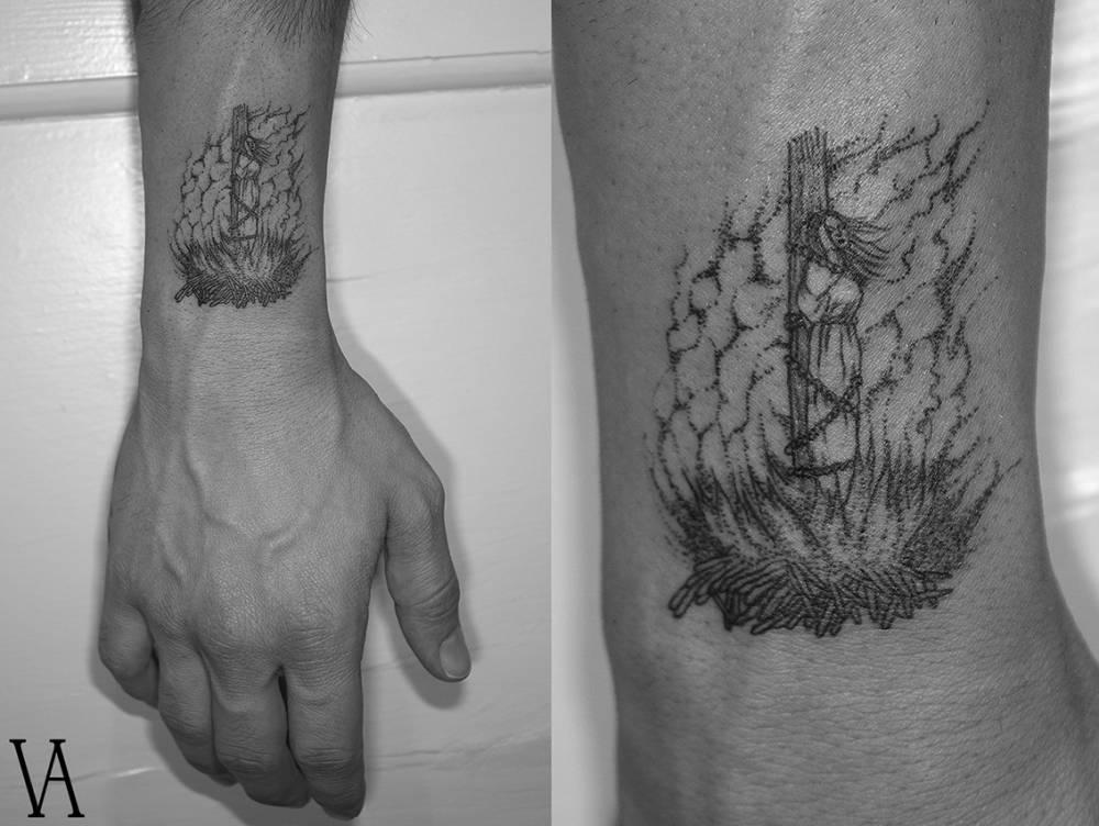 Burning witch tattoo