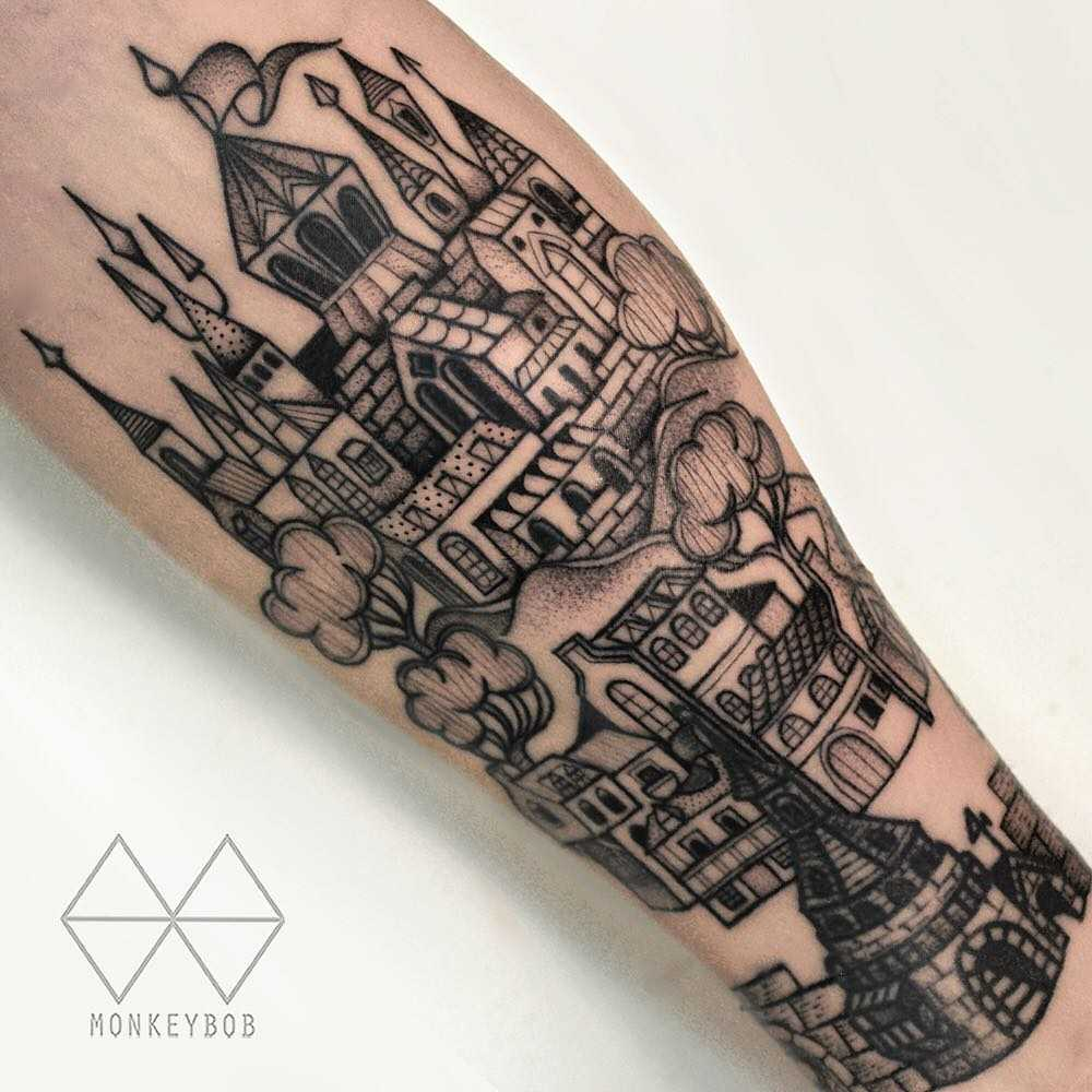 Castle and village tattoo by Monkey Bob