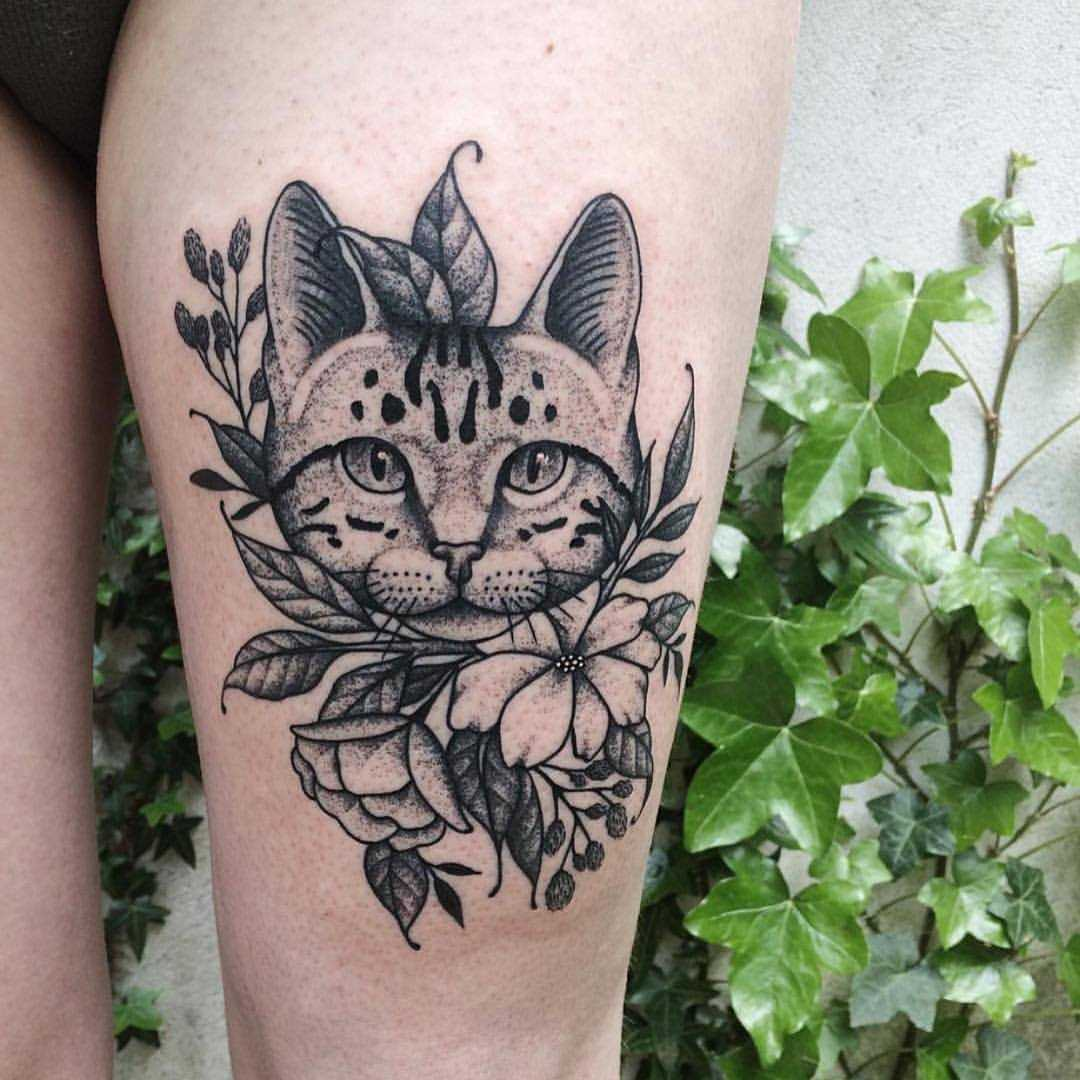 Cat and flowers by Roald Vd Broek