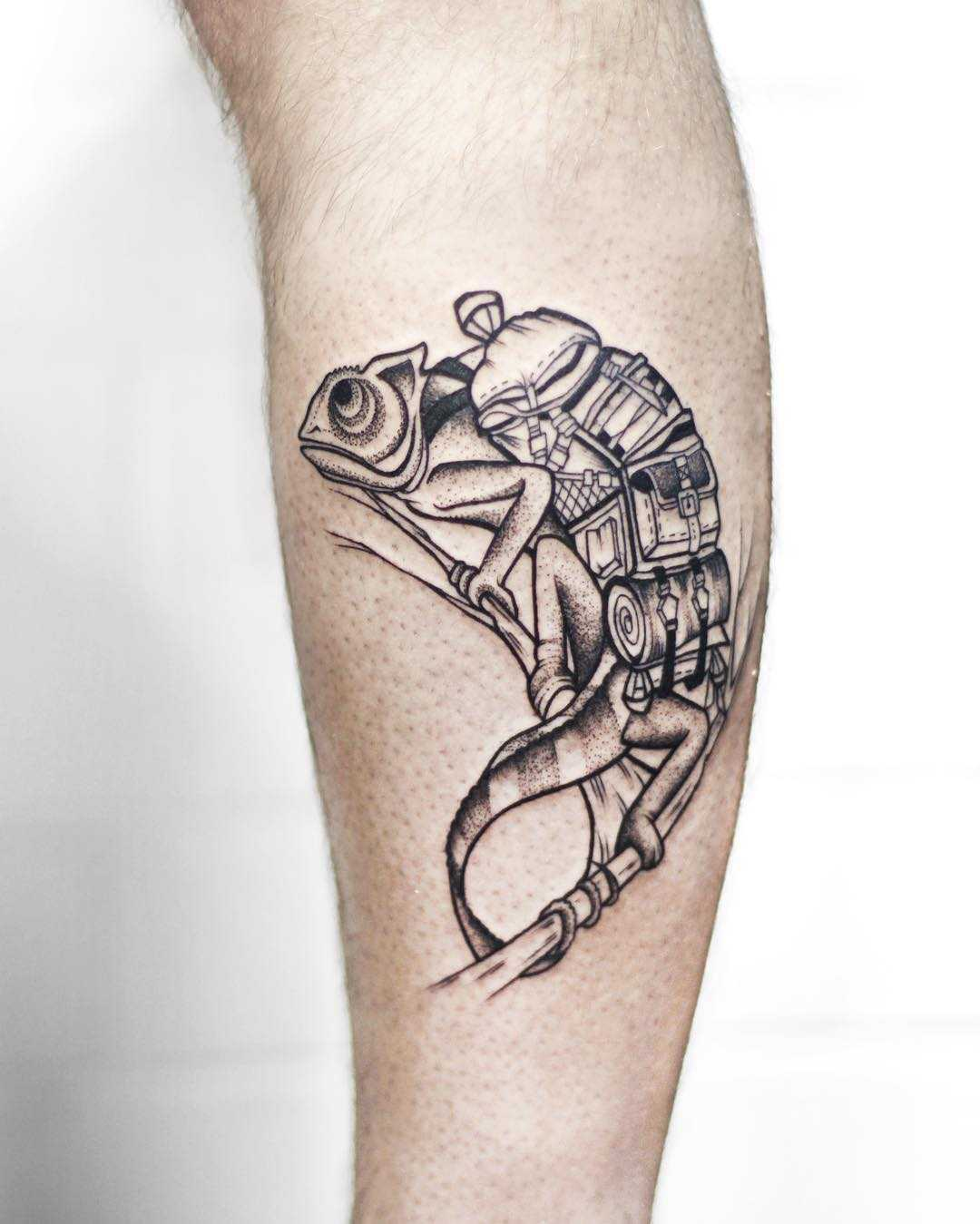 Chameleon traveler tattoo by Sasha Tattooing