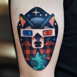 Cinema wolf tattoo by David Côté