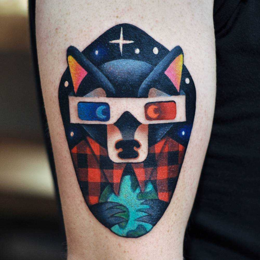 Cinema wolf tattoo by David Côté