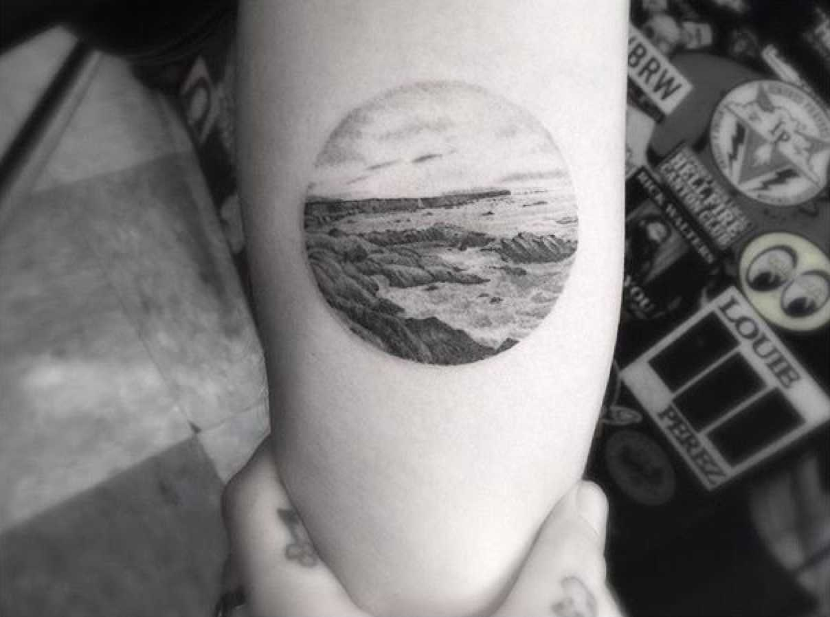 Circular landscape tattoo by Dr.Woo