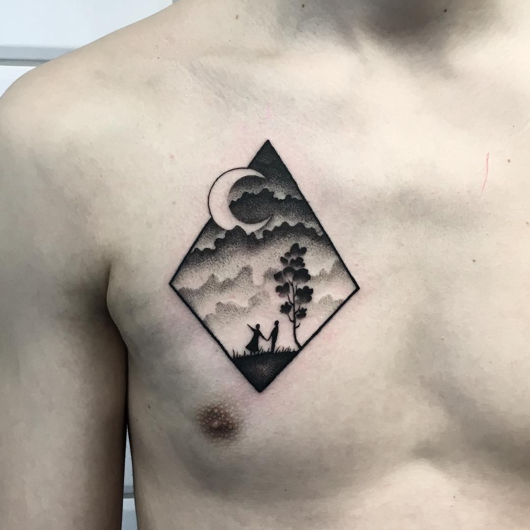 Cloudy landscape tattoo