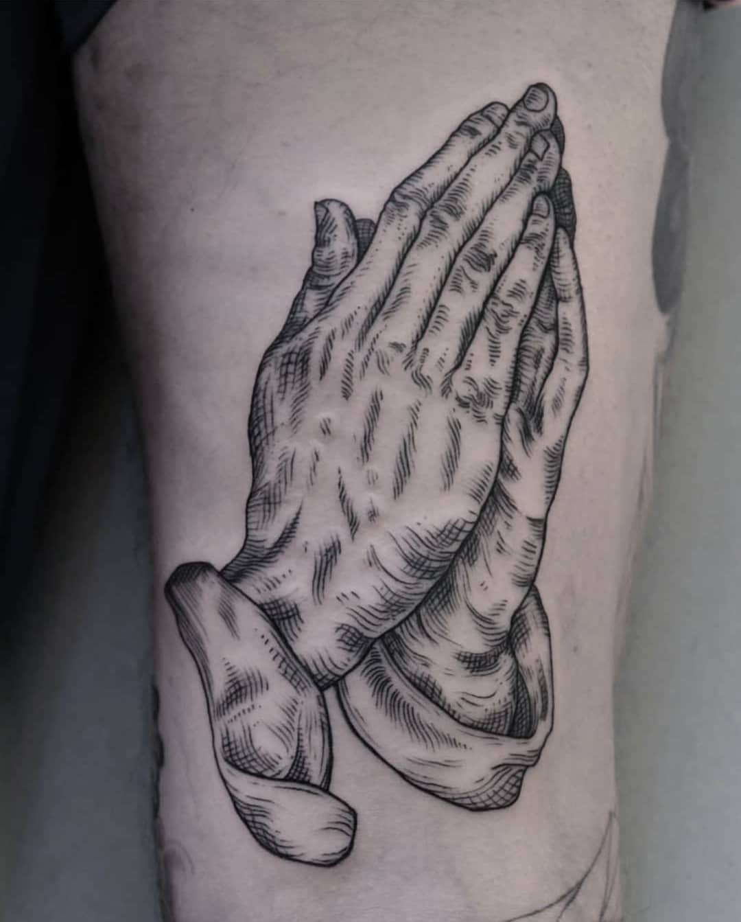 Dürer's praying hands tattoo