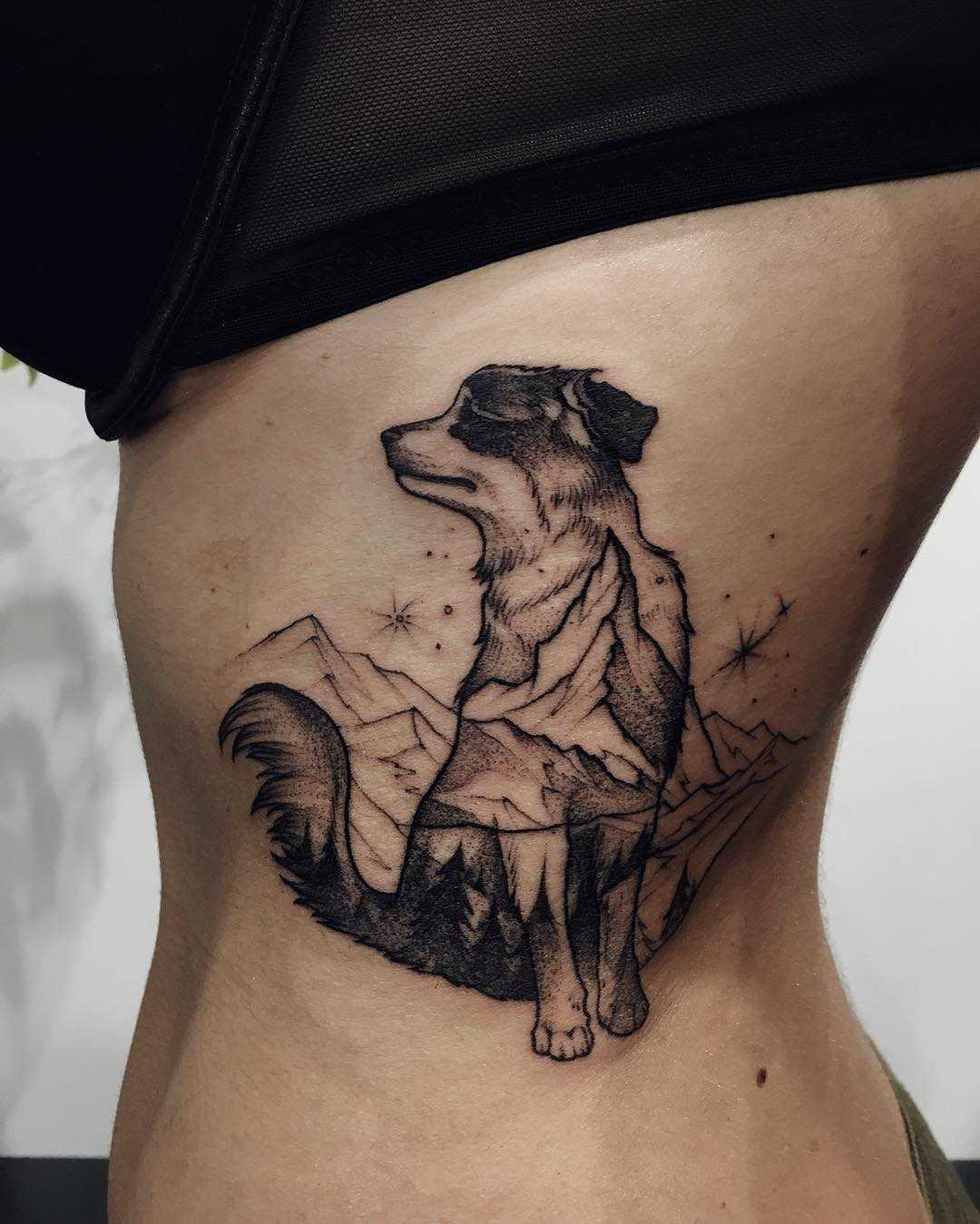 Double exposure dog and mountains tattoo