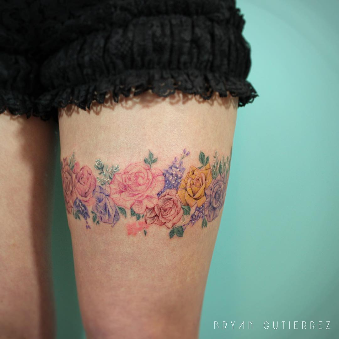 Floral piece on the thigh
