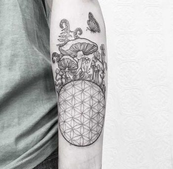 Flower of life and mushrooms by Anka Tattoo