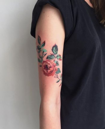 Flower tattoo by Amanda Wachob