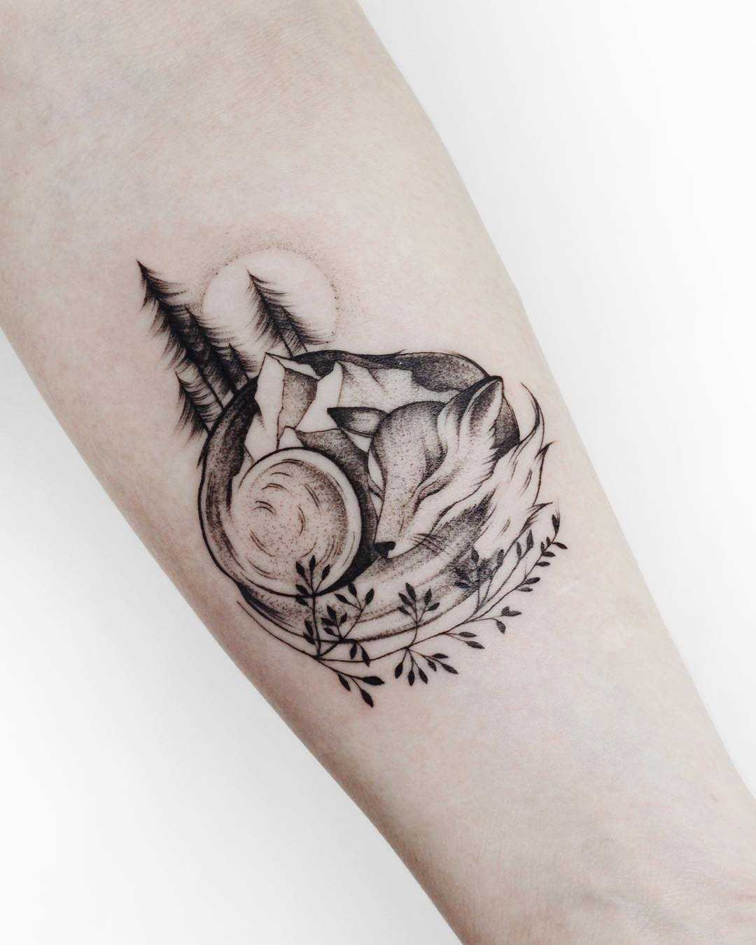 Fox and landscape tattoo by Sasha Tattooing
