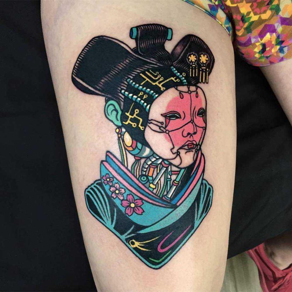 Freaky Japanese woman by Raro done At Cornelius Tattoo