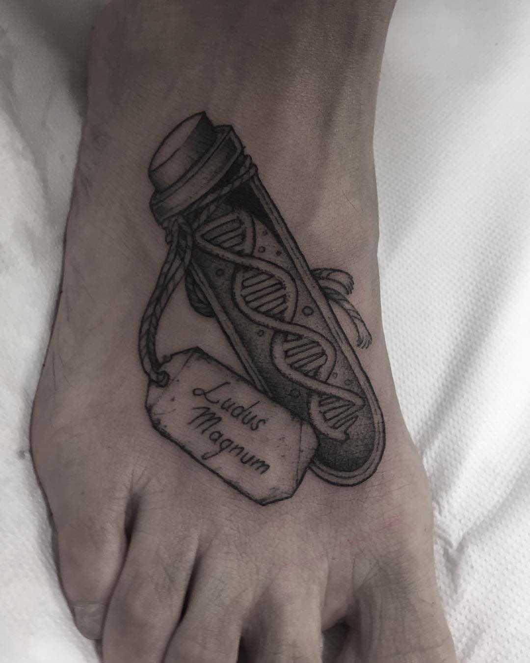 Gladiator DNA tattoo done at Primordial Pain Studio