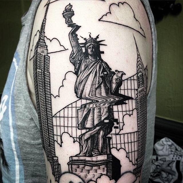 Glitched Statue of Liberty tattoo