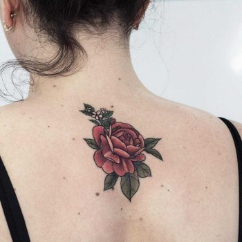 Gorgeous rose tattoo on the back