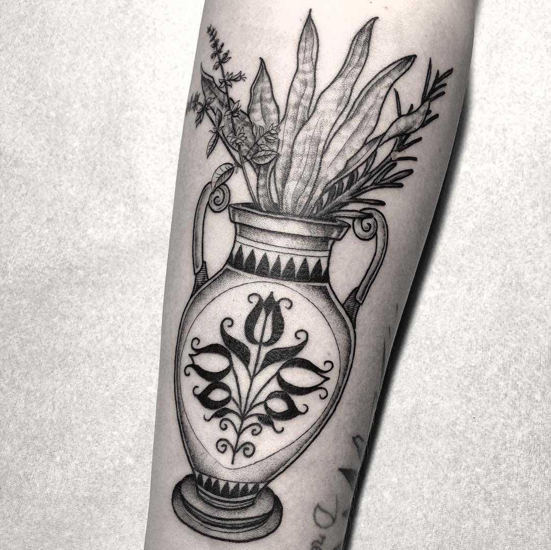 Greek vase with flowers tattoo