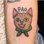 Happy cat tattoo by tattooist Jiran