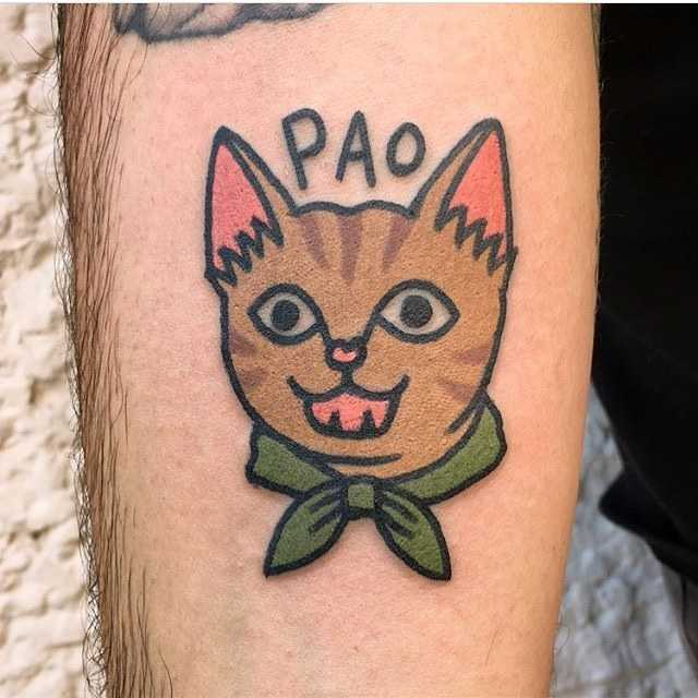 Happy cat tattoo by tattooist Jiran