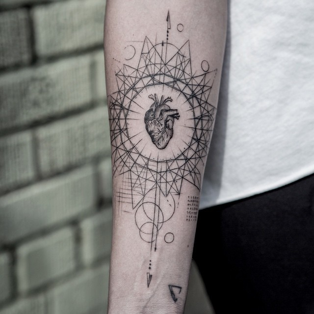 Heart and geometry tattoo