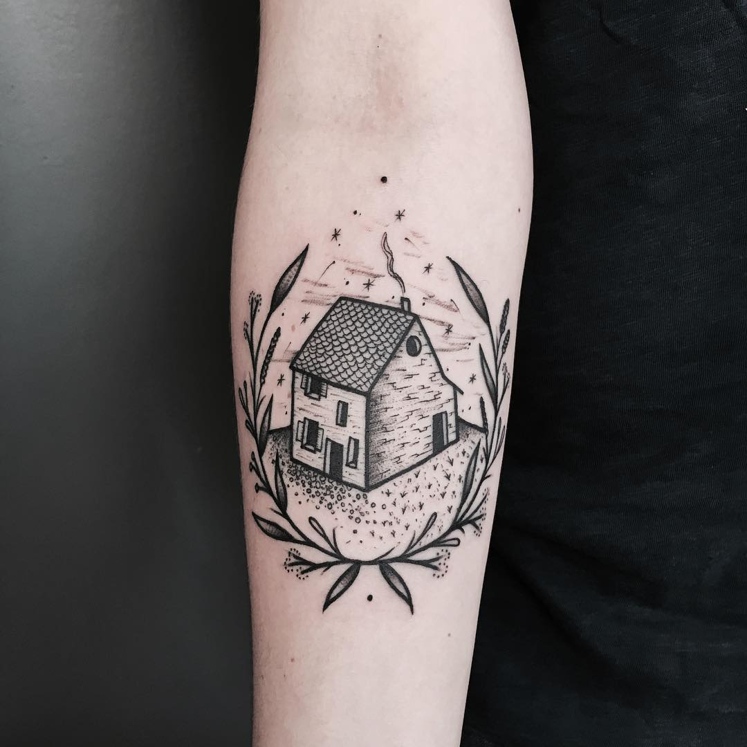 House and wreath tattoo