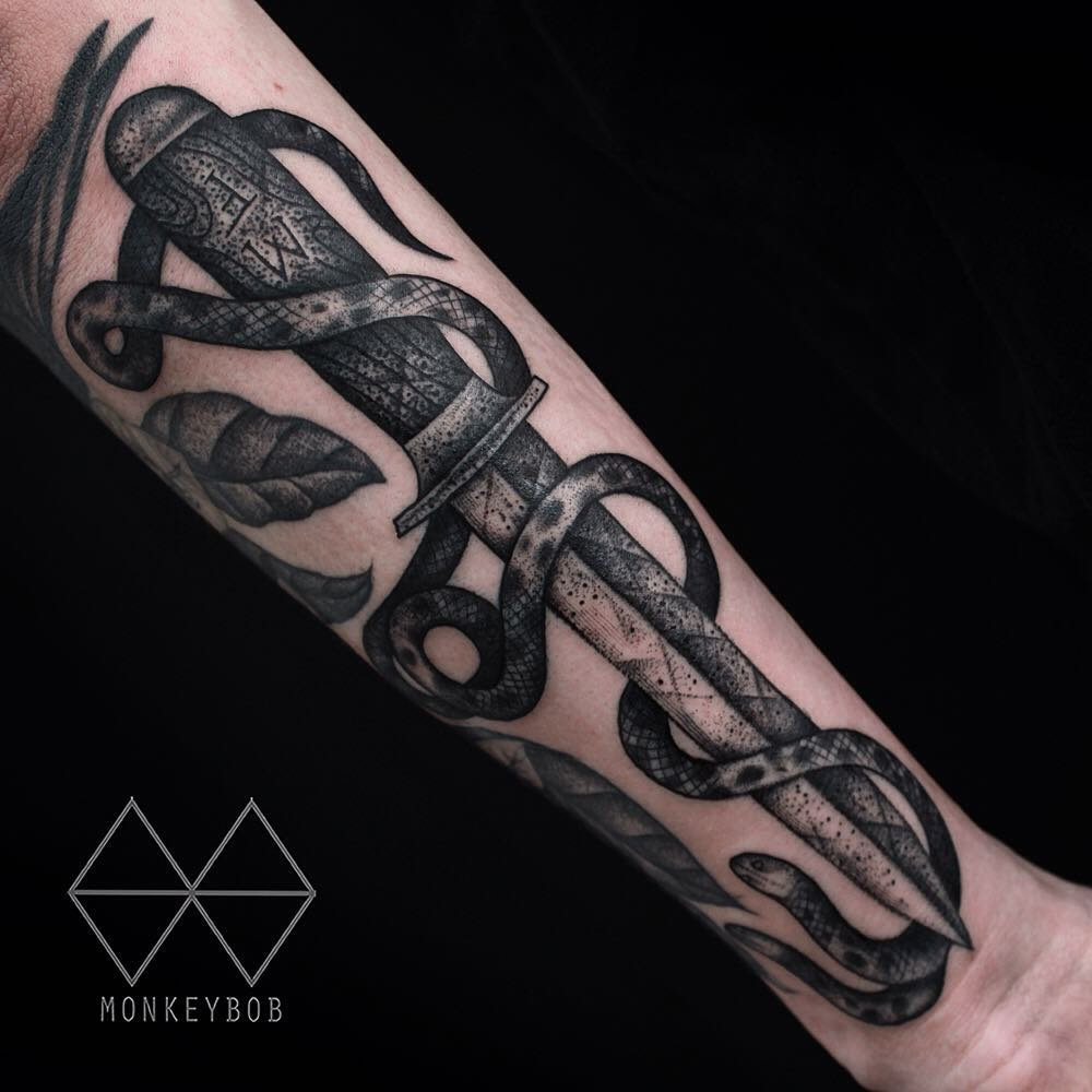 Knife and two headed snake tattoo