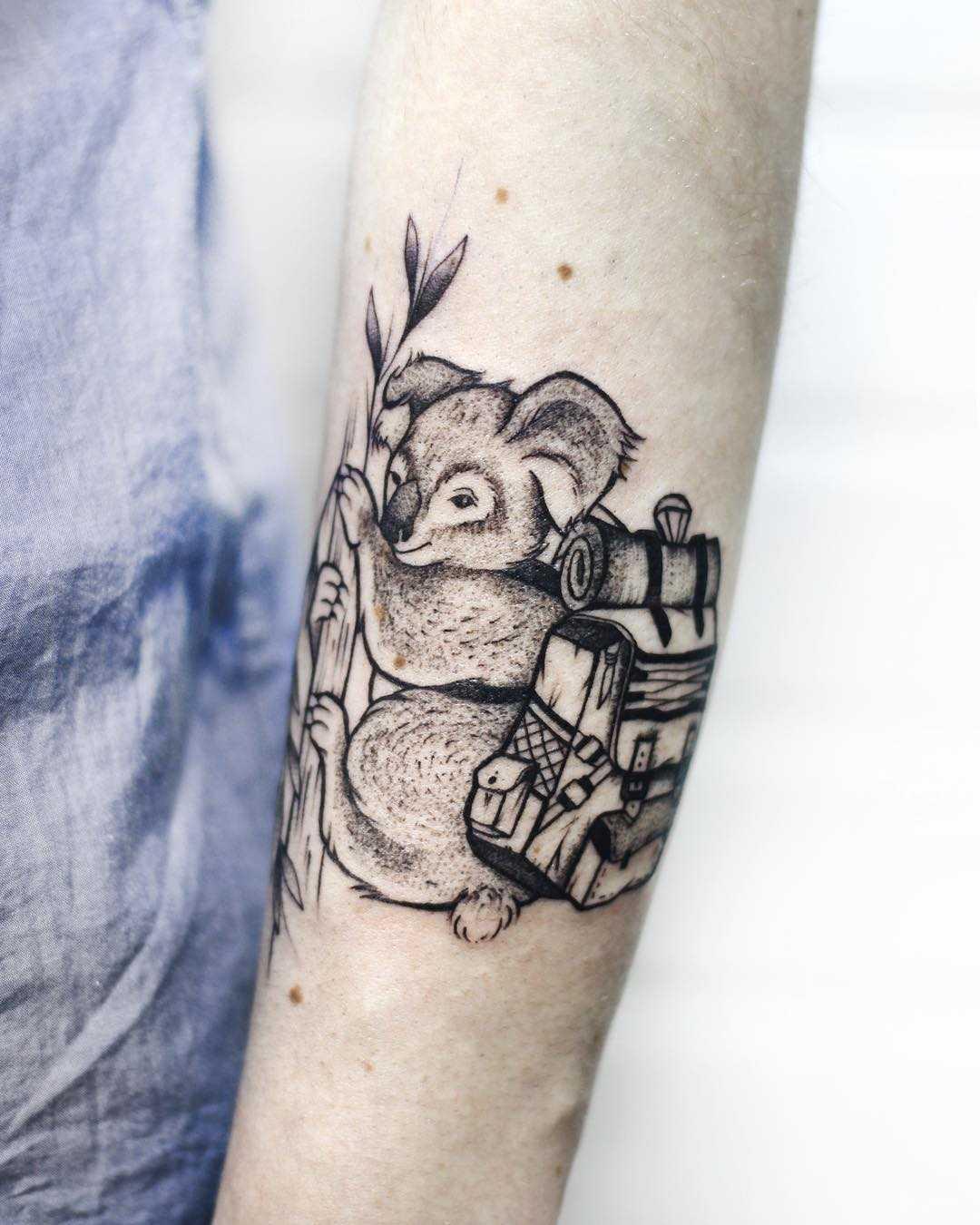 Koala traveler tattoo