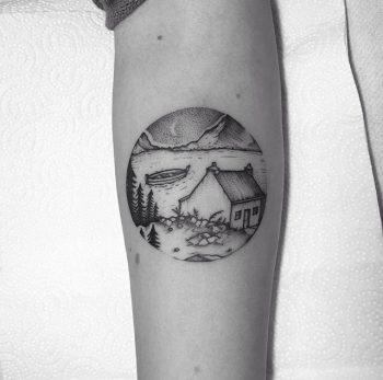 Lake scenery tattoo by Tom Tom Tatts