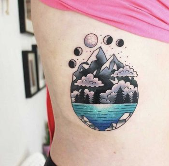 Landscape tattoo by Jessica Channer