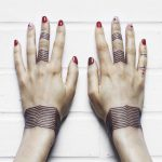 Linear chevron bracelet tattoos