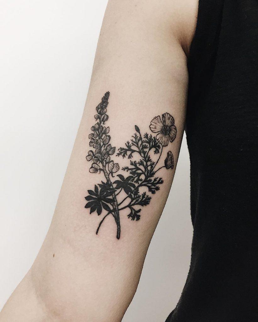 Lupine and California poppy tattoo