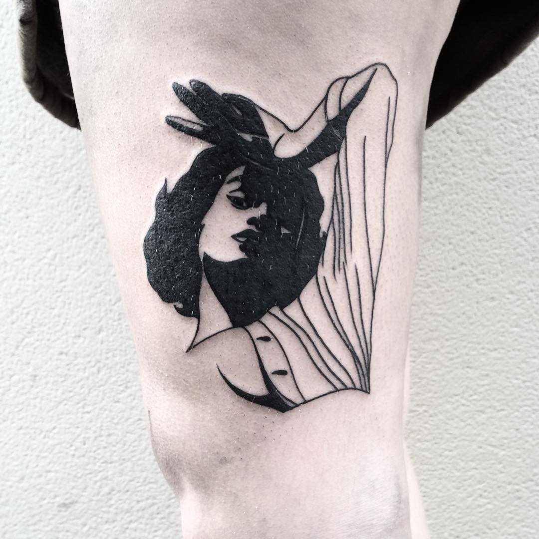 Lying girl tattoo