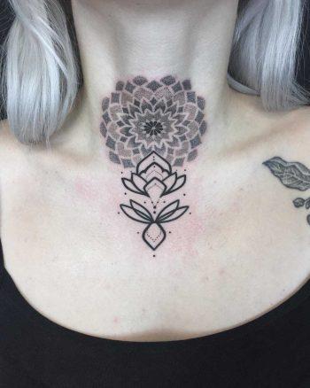 Mandala and lotus tattoo on the neck
