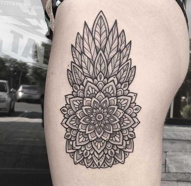 Mandala pineapple tattoo by Kelly Kill Again