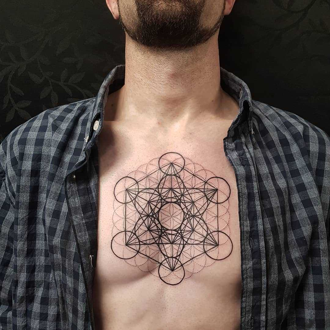 Metatron's cube tattoo on the chest