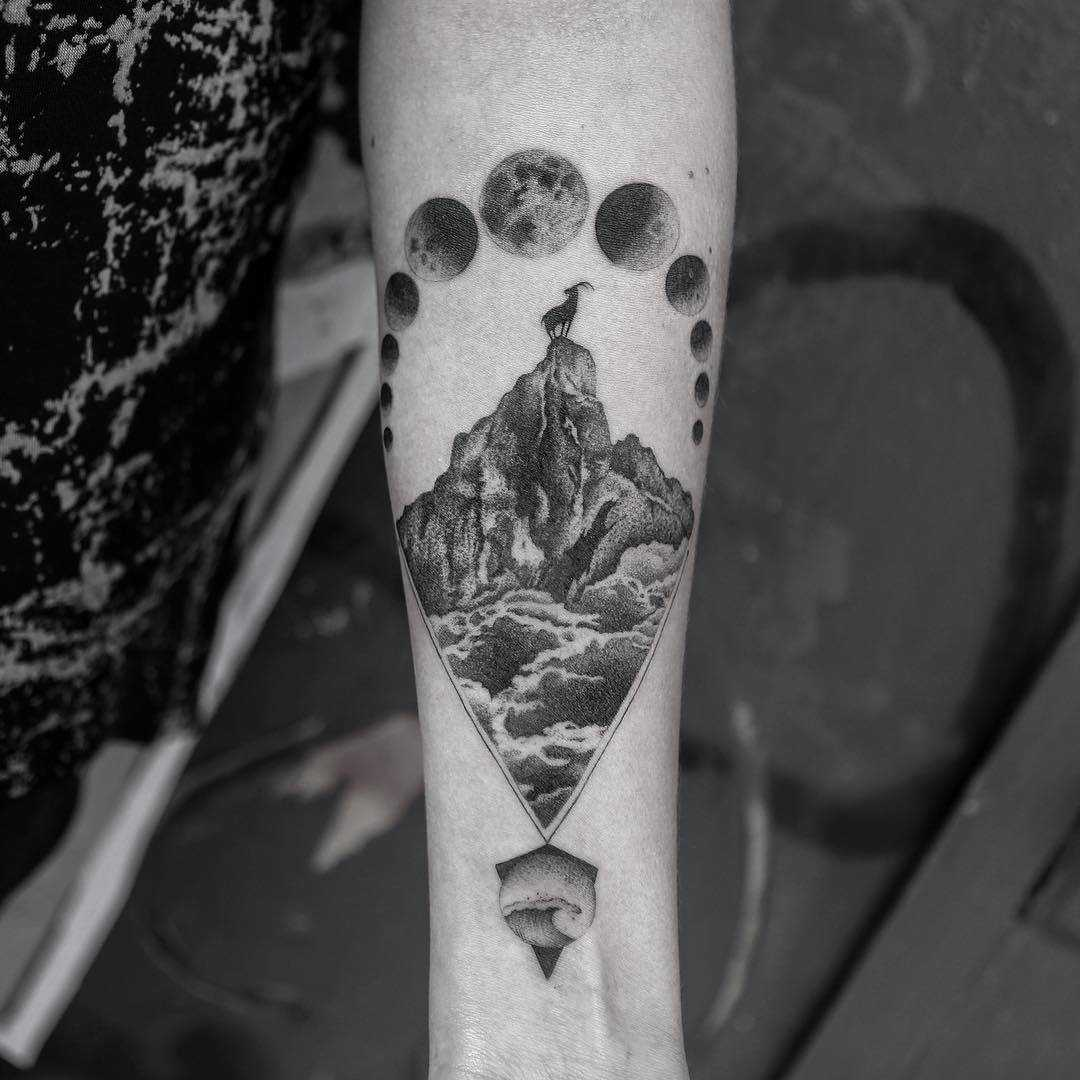 Mountain tattoo by Balazs Bercsenyi