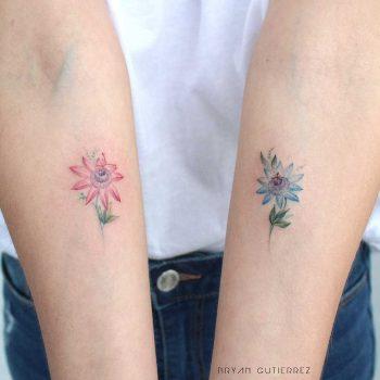 Passion fruit flowers tattoos
