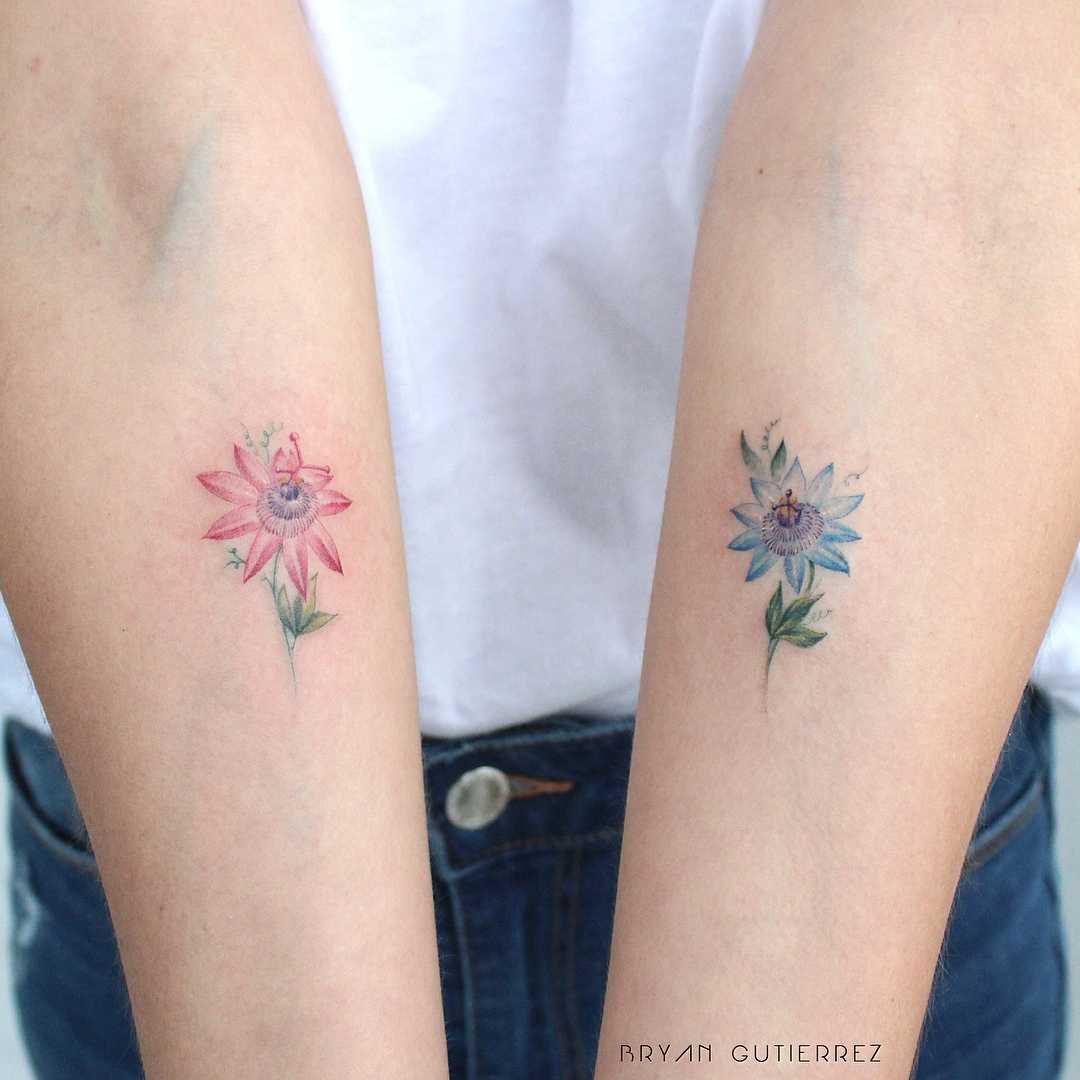 Passion fruit flowers tattoos