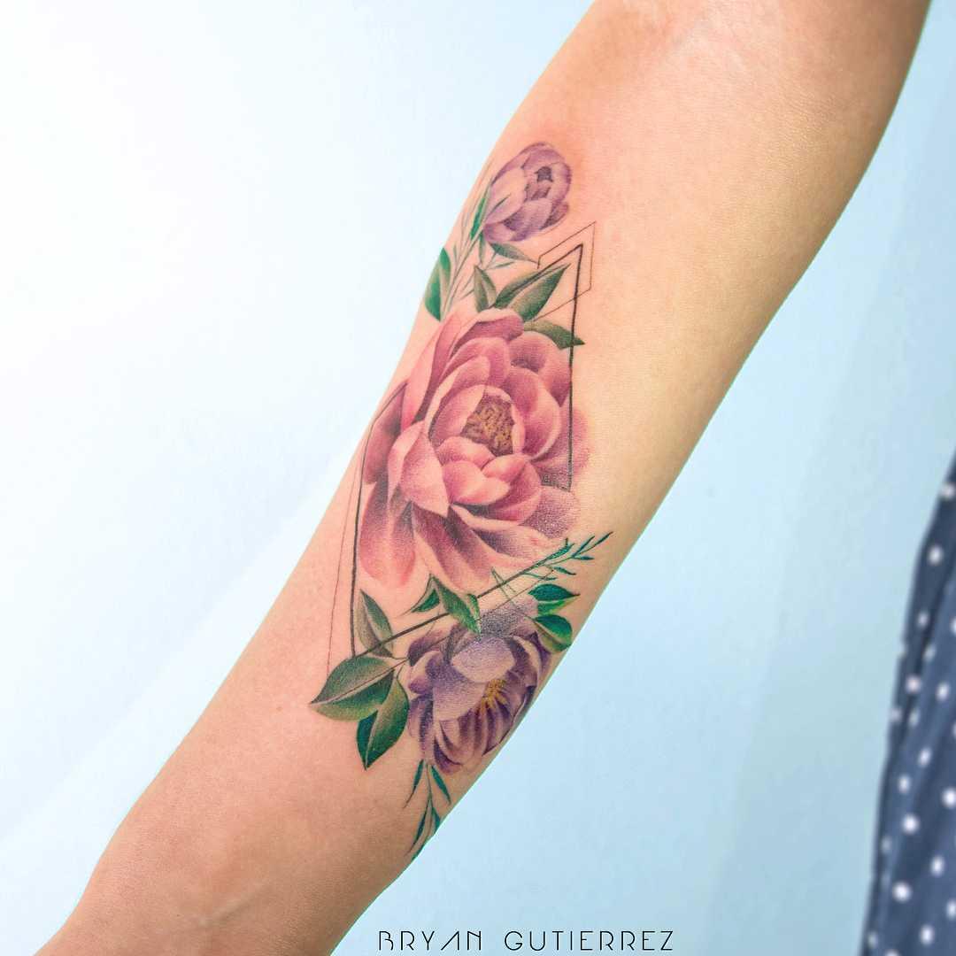 Peonies tattoo by Bryan Gutierrez