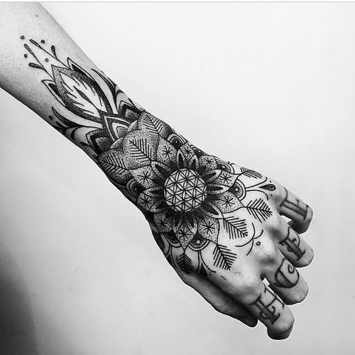 Perfect linear mandala tattoo
