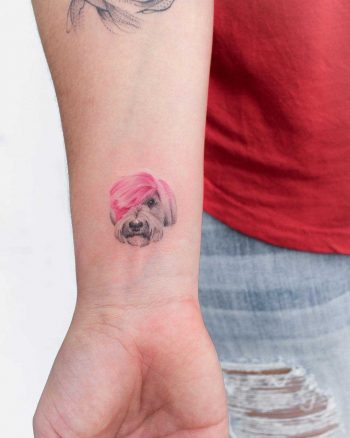 Pink-haired dog tattoo