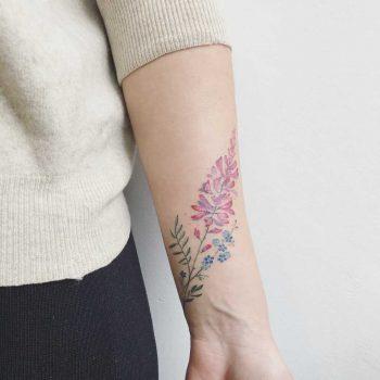 Pink lupine tattoo